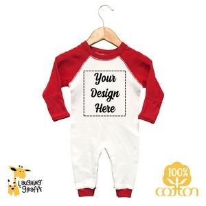 The Laughing Giraffe® Baby Bright ColorRaglan Sleep-N-Play Long Sleeve Bodysuit w/Fold Over Mittens